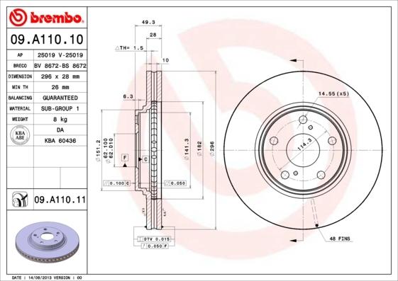 Диск тормозной Brembo, передний, 2 шт. 09.A110.1009.A110.10