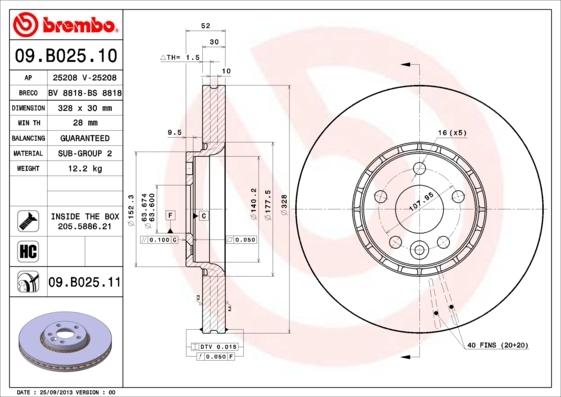 Диск тормозной Brembo. 09.B025.1109.B025.11