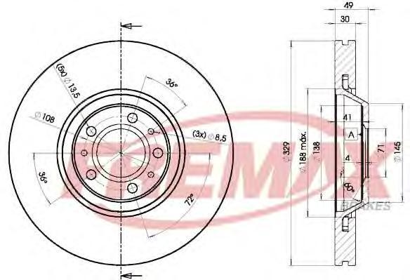 Диск тормозной Fremax, 2 шт. BD-4608BD-4608