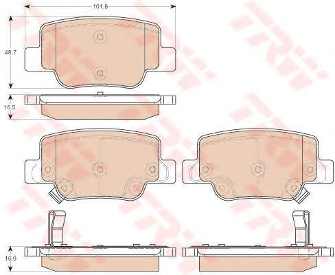 Колодки тормозные дисковые TRW, задние. GDB3547GDB3547