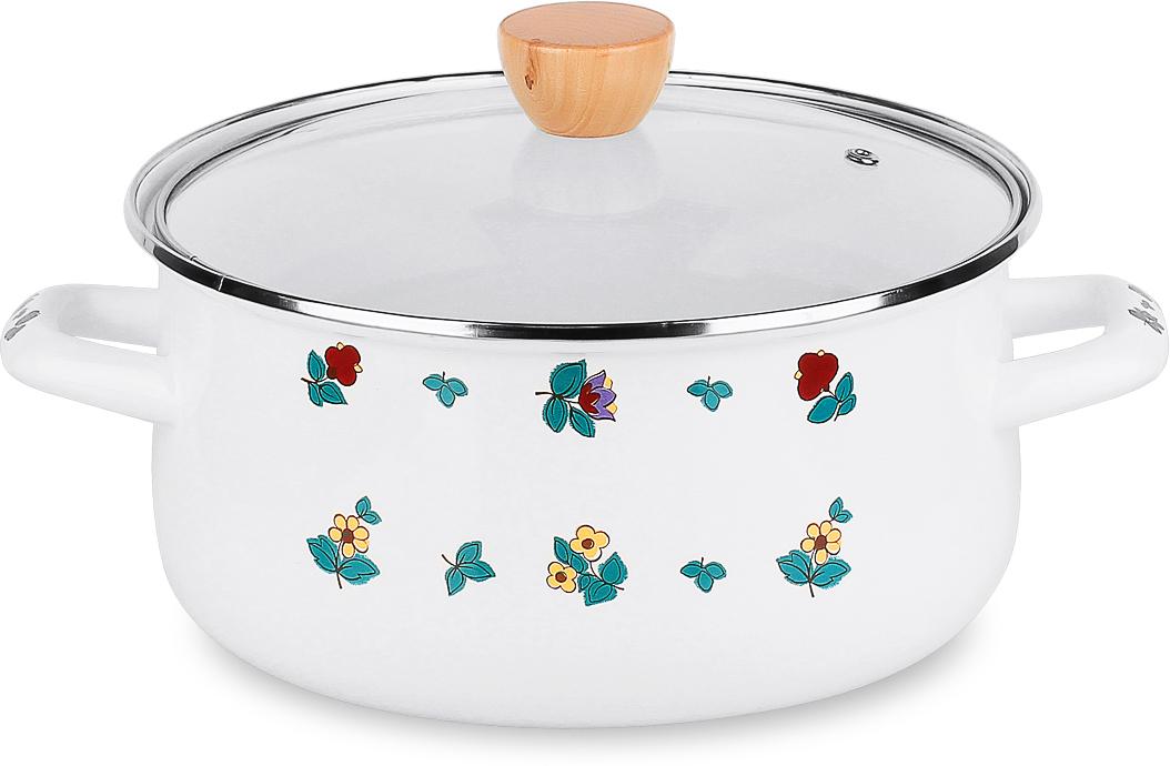 Кастрюля эмаль Ete со стеклянной крышкой с пароотводом • Можно мыть в посудомоечной машине.