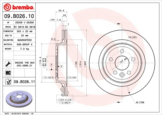 Диск тормозной Brembo, 2 шт. 09.B026.1109.B026.11