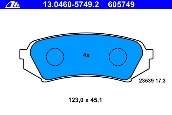 Колодки тормозные дисковые Ate, комплект. 13.0460-5749.213.0460-5749.2