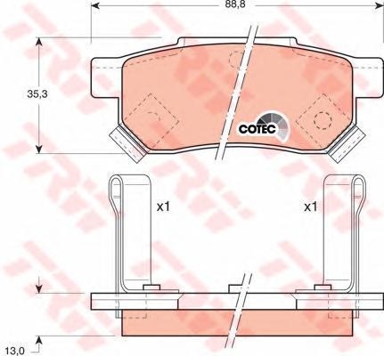 Колодки тормозные дисковые TRW. GDB499GDB499