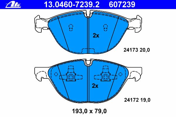Колодки тормозные дисковые Ate. 13.0460-7239.213.0460-7239.2