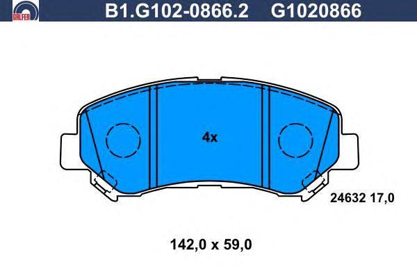 Колодки тормозные дисковые Galfer. B1.G102-0866.2B1.G102-0866.2