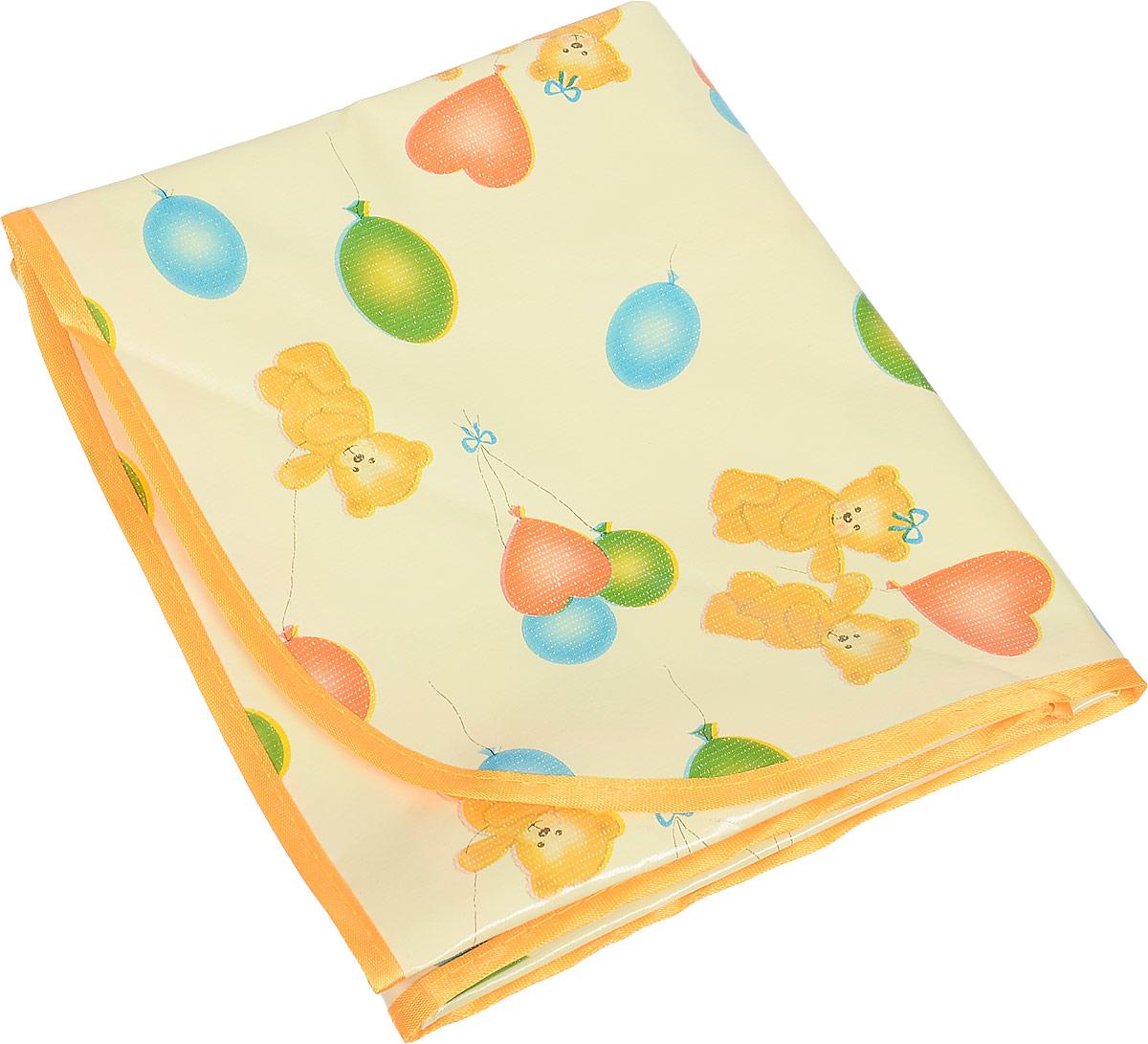 Колорит Клеенка подкладная с окантовкой цвет желтый оранжевый 70 х 100 см -  Подгузники и пеленки