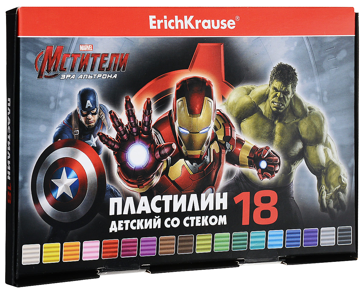 Marvel Пластилин Мстители 18 цветов37997Классический школьный пластилин в удобной картонной коробочке. Сохраняет свою форму, не застывает на воздухе. Цветовая палитра содержит яркие, насыщенные цвета, которые хорошо смешиваются между собой. Брусочки классического пластилина весом 18 г упакованы в пленку. В каждой коробочке имеется стек для моделирования, с помощью которого ребенку будет удобно не только нарезать пластилин, но и наносить на поделки разнообразные узоры.