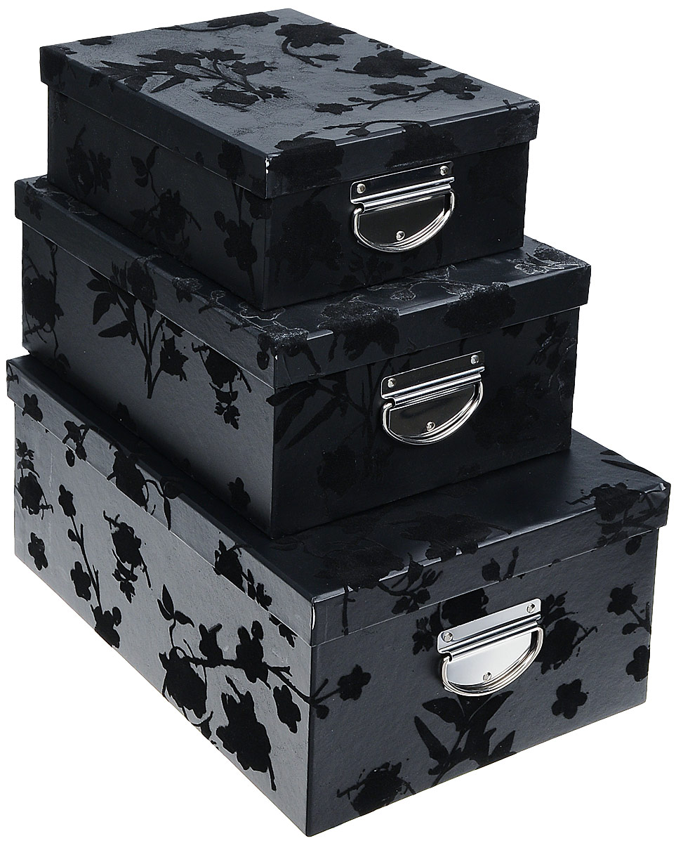 Набор коробок для хранения Тайны ночи, цвет: черный, 3 штLS-8140 (S/3)BLACKКофры для хранения Тайны ночи прекрасно подойдут для гардероба, хранения личных вещей, нижнего белья, различных аксессуаров, а также бытовых предметов или принадлежностей для шитья. В комплекте 3 прямоугольных кофра разного размера, с крышками. Изделия выполнены из плотного картона, внешняя поверхность оформлена растительным орнаментом с бархатистой текстурой. Сбоку имеется металлическая ручка, которая позволяет использовать их в качестве выдвижных ящиков. Размер малого кофра: 25 см х 20 см х 10 см. Размер среднего кофра: 30 см х 23 см х 13 см. Размер большого кофра: 35 см х 26 см х 16 см.
