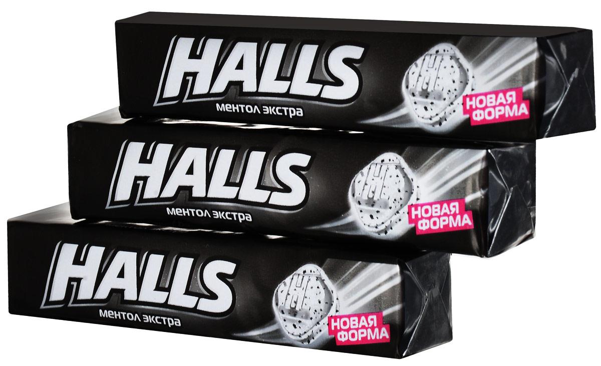 Halls карамель леденцовая Ментол Экстра, 3 шт по 24,5 г halls карамель леденцовая со вкусом арбуза 12 пачек по 25 г
