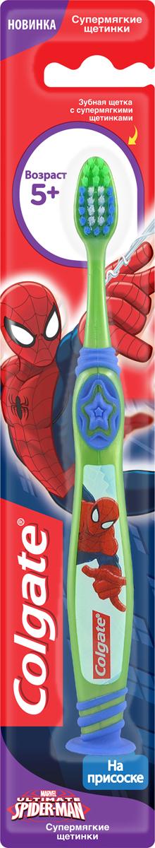 Colgate Зубная щетка Spider-man, детская, с мягкой щетиной, на присоске, цвет: зеленый, синийFCN21494_зелёный/синийColgate Зубная щетка Spider-man, детская, с мягкой щетиной, на присоске, цвет: зеленый, синий