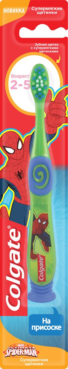 Colgate Зубная щетка Spiderman, детская, супермягкая, от 2 до 5 лет, цвет: зеленый, синийFCN21742_зеленый, синий/новый дизайн