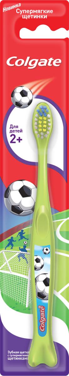 Colgate зубная щетка Для детей 2+, супермягкая, цвет: салатовый colgate зубная щетка spiderman детская супермягкая от 2 до 5 лет цвет синий красный fcn21742