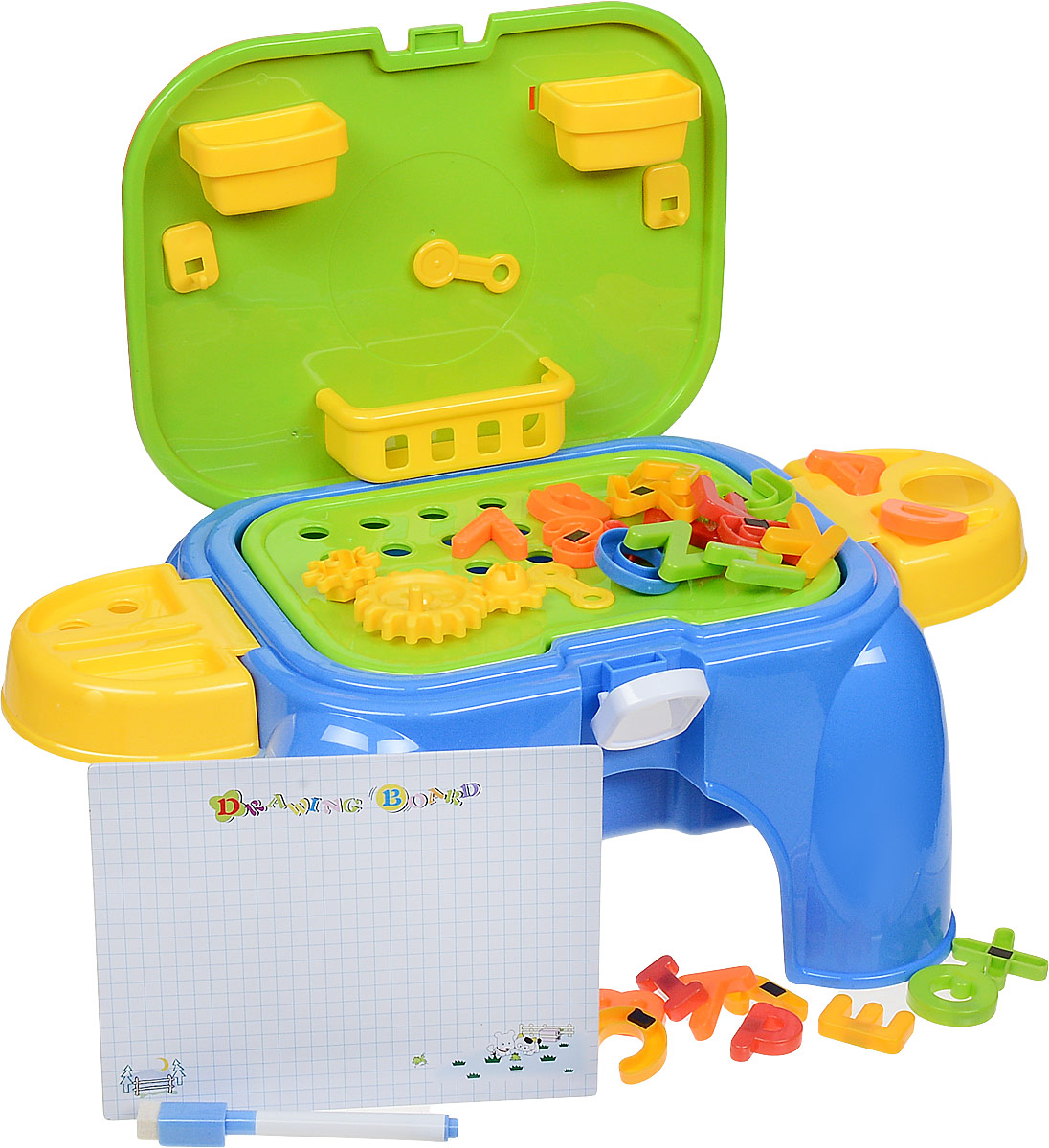 Bradex Обучающий столик-табурет 3 в 1 Скоро в школу цвет голубой оранжевый салатовый табурет складной детский алфавит салатовый 1156969