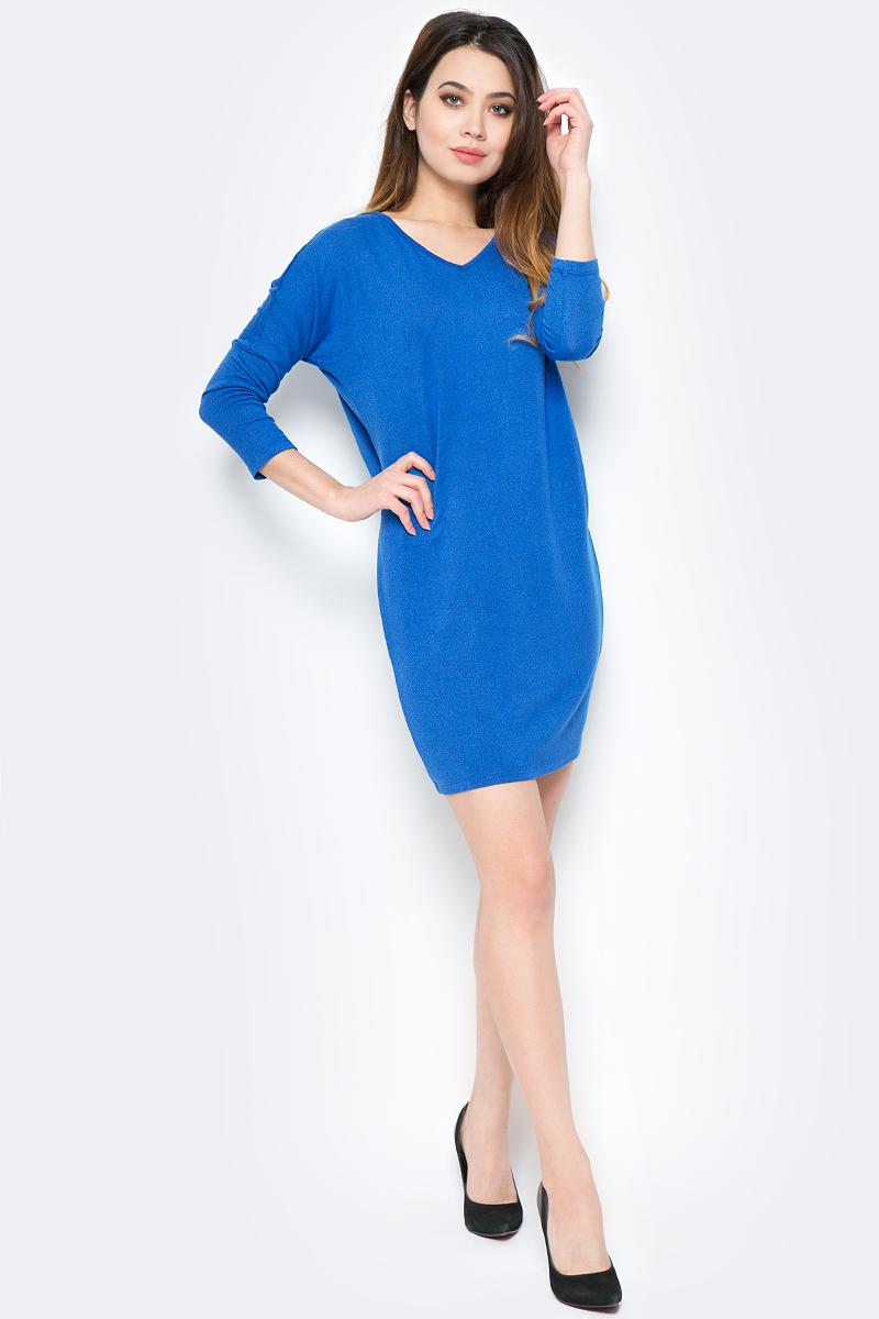 Платье женское Sela, цвет: ярко-синий меланж. DK-117/796-8111. Размер XS (42) платье sela цвет серый меланж dk 117 1175 7413 размер m 46