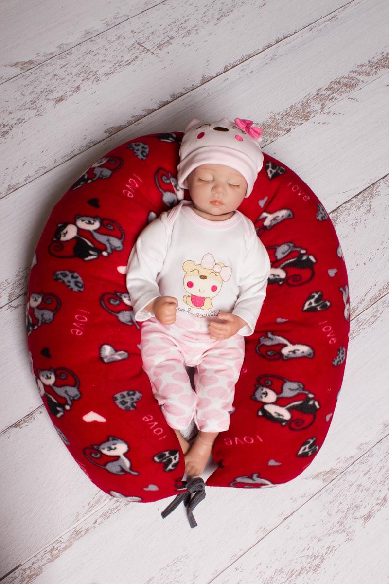 Фото 40 недель Подушка для беременных и кормления цвет бордовый серый 190 х 35 см