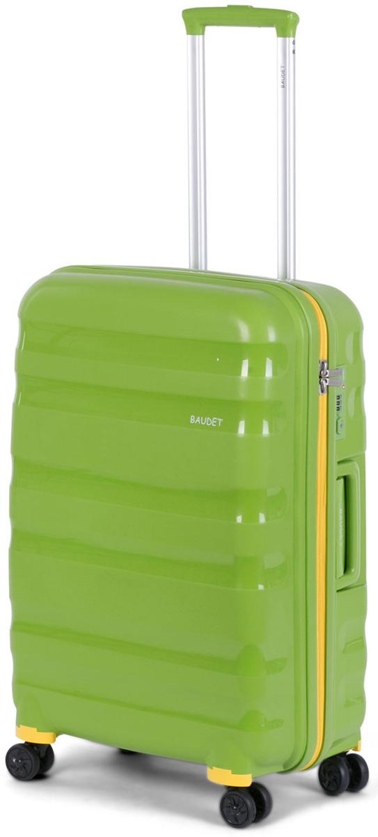 """Чемодан """"Baudet"""",на колесах, цвет: зеленый, 62 х 47 х 27 см, 78,6 л"""