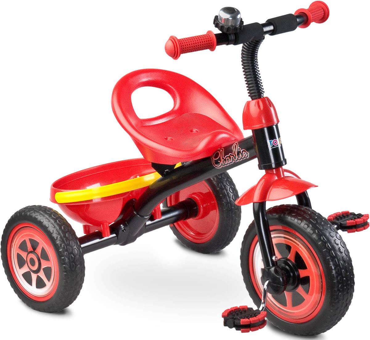 Caretero Велосипед трехколесный детский Charlie цвет красныйTOYZ-0293Детский трехколесный велосипед Toyz (Caretero) Charlie – новинка 2016 года, прекрасно подойдет на роль первого велосипеда. У Charlie яркий современный дизайн, который произведет впечатление, как на вашего ребенка, так и на окружающих. Велосипед имеет устойчивую безопасную конструкцию, он легкий и компактный.Характеристики велосипеда Toyz Charlie: предназначен для детей от 3 до 5 лет; максимальная нагрузка – 25 кг; легкая и прочная рама; комфортное сиденье; колеса из вспененной резины; переднее колесо диаметром 25 см; задние колеса диаметром 21 см; звоночек на руле; удобная корзинка.