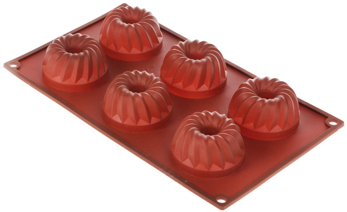 Форма для выпечки Marmiton Кекс, силиконовая, цвет: коричневый, 6 ячеек