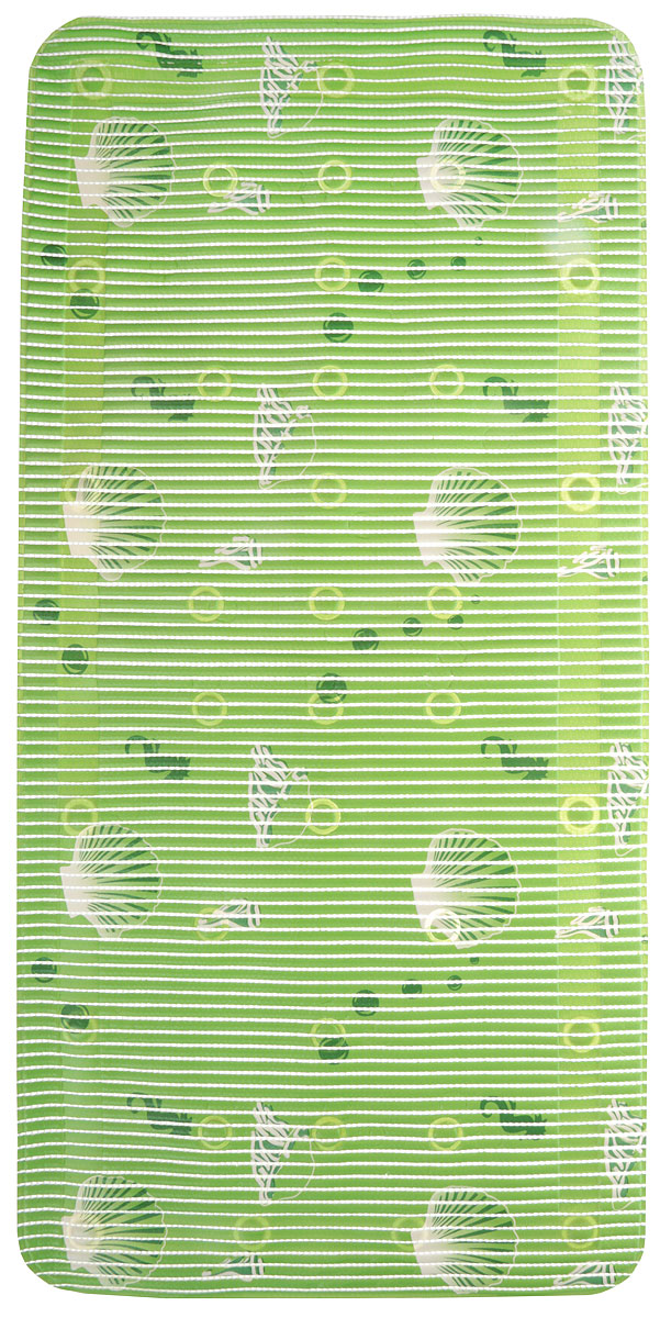 Коврик для ванной FLEXY Море, на присосках, 90 х 43 см, цвет: море зеленый