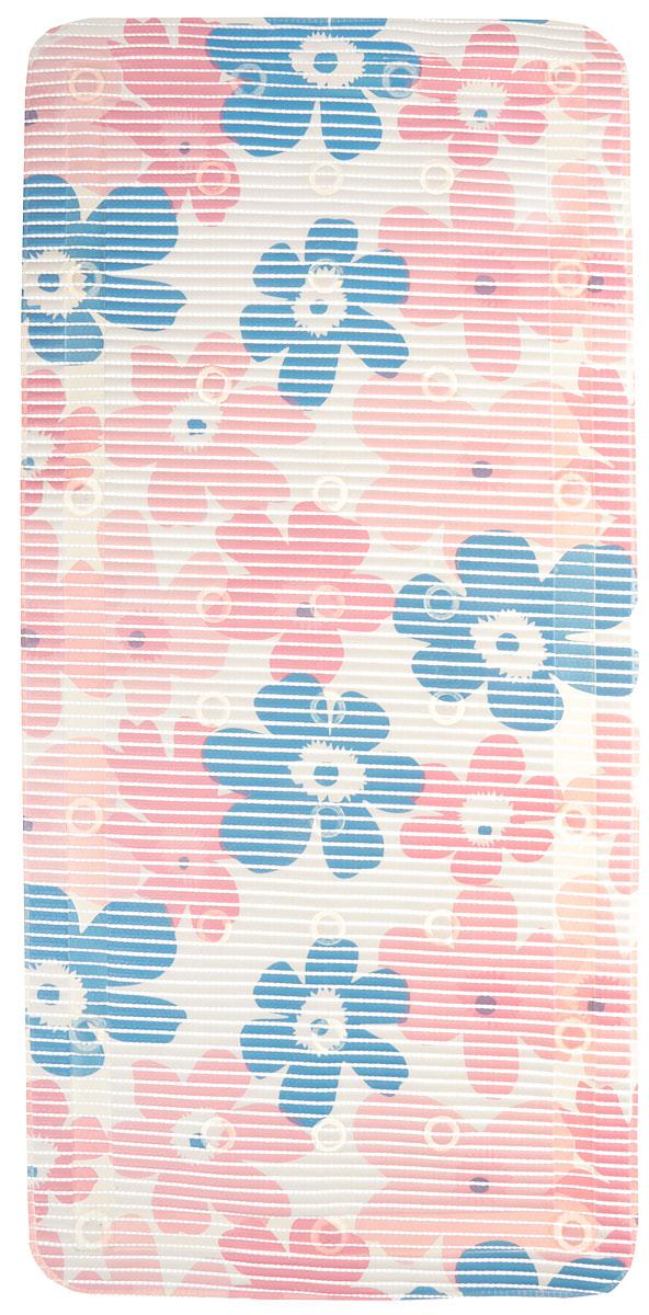 Коврик для ванной FLEXY Цветы, на присосках, 90 х 43 см, цвет: цветы розовый, белый, синий55765_цветы розовый, белый, синийКоврик для ванной FLEXY Цветы, изготовленный из ПВХ с защитой от плесени и грибка, создает комфортное антискользящее покрытие вванне.Крепится к поверхности при помощи присосок. Изделие удобно в использовании и легко моется теплой водой.