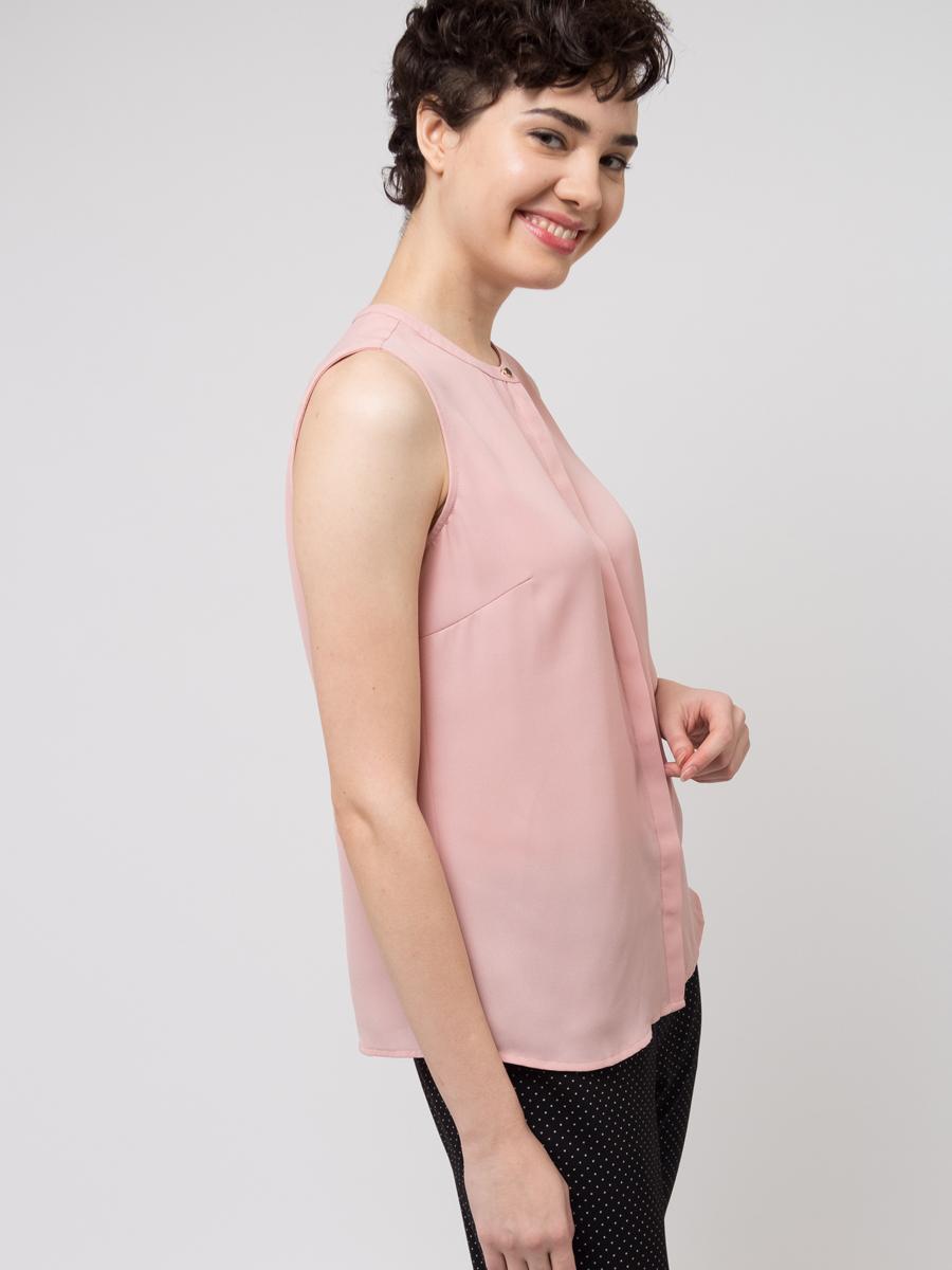 Блузка женская Sela, цвет: светло-розовый. Bsl-112/272-8111. Размер 44Bsl-112/272-8111Блузка женская Sela выполнена из полиэстера. Модель с круглым вырезом горловины.