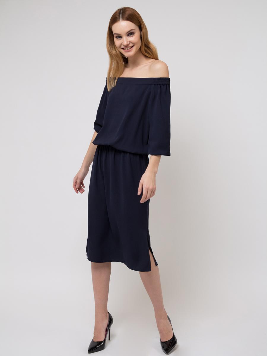 Платье Sela, цвет: темно-синий. D-117/716-8111. Размер 42D-117/716-8111Платье Sela выполнено из полиэстера. Модель с открытыми плечами и длинными рукавами.