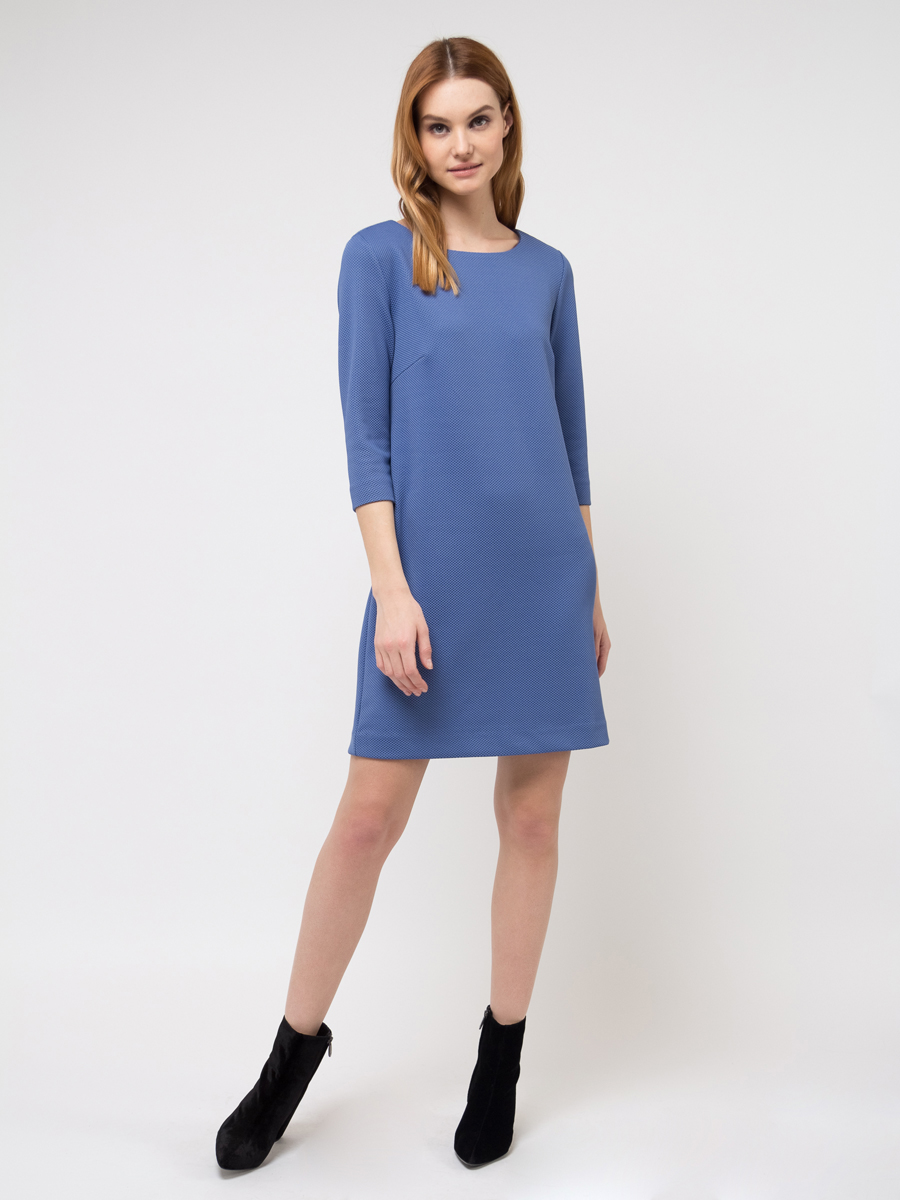 Платье Sela, цвет: голубой. DK-117/251-8111. Размер S (44)DK-117/251-8111Платье Sela выполнена из полиэстера и эластана. Модель с круглым вырезом горловины сзади застегивается на молнию.
