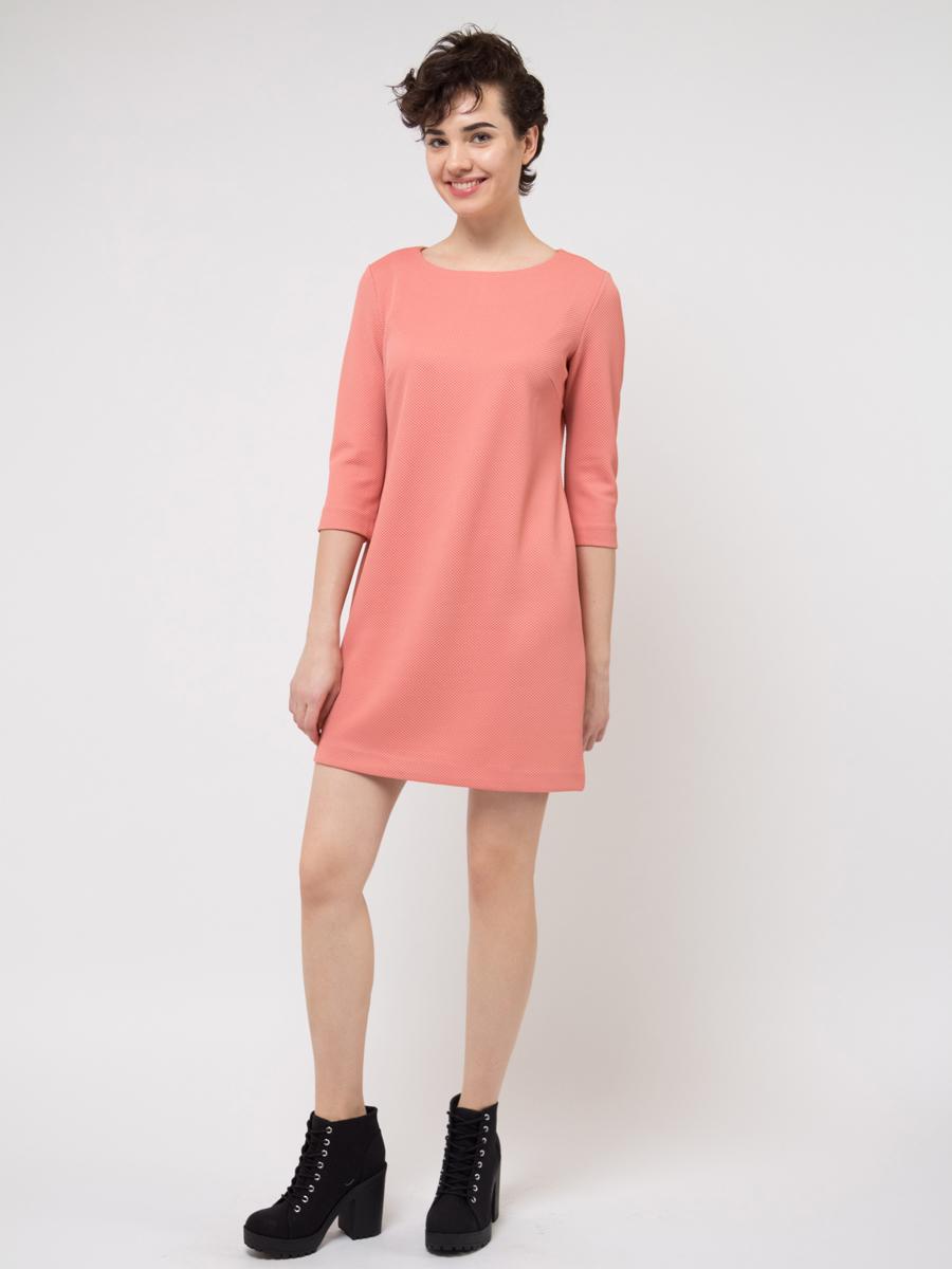 Платье Sela, цвет: коралловый. DK-117/251-8111. Размер M (46)DK-117/251-8111Платье Sela выполнена из полиэстера и эластана. Модель с круглым вырезом горловины сзади застегивается на молнию.