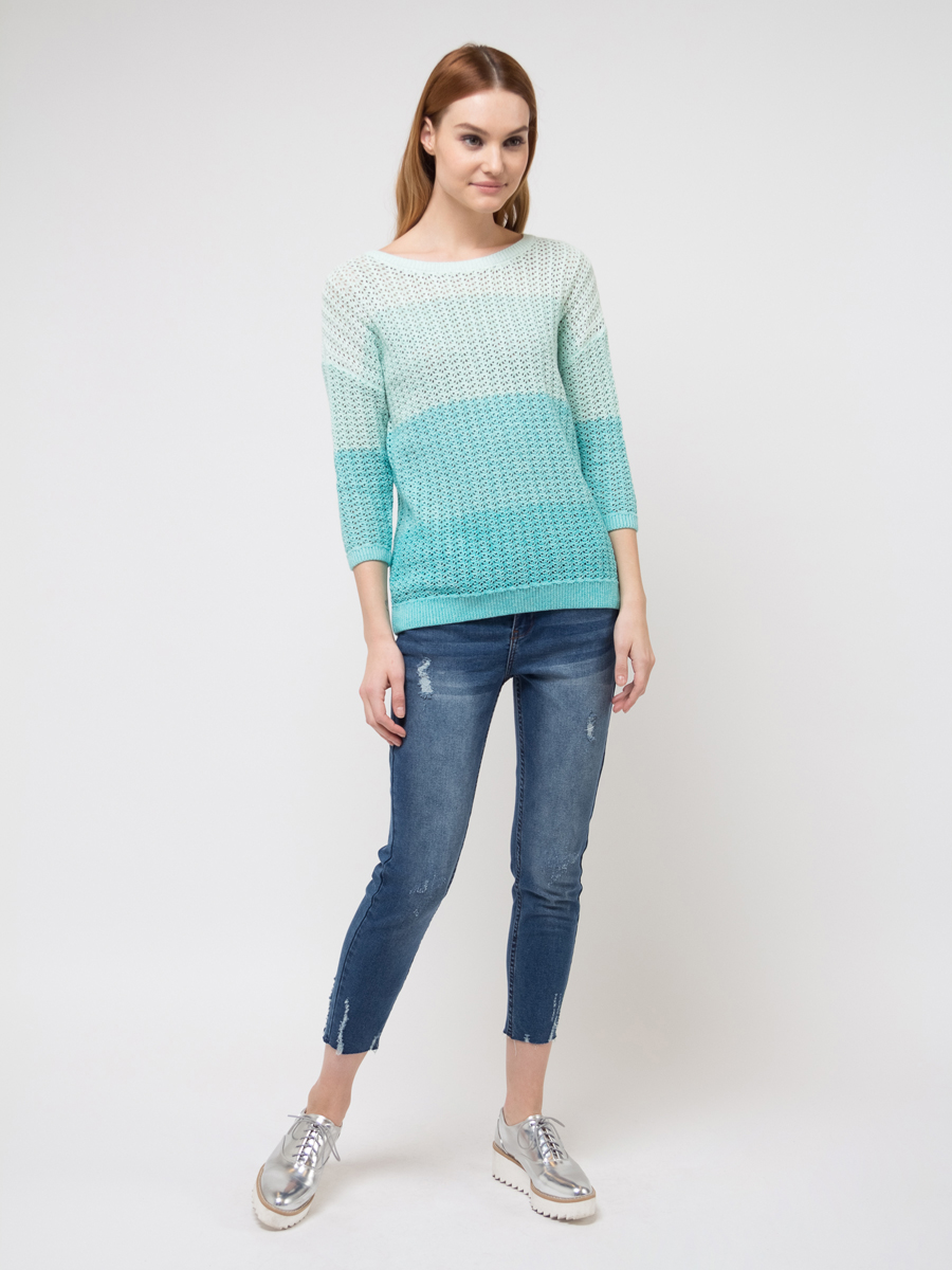 Джемпер женский Sela, цвет: голубой. JR-114/1298-8111. Размер M (46) джемпер женский sela цвет коралловый jr 114 1089 8111 размер xl 50