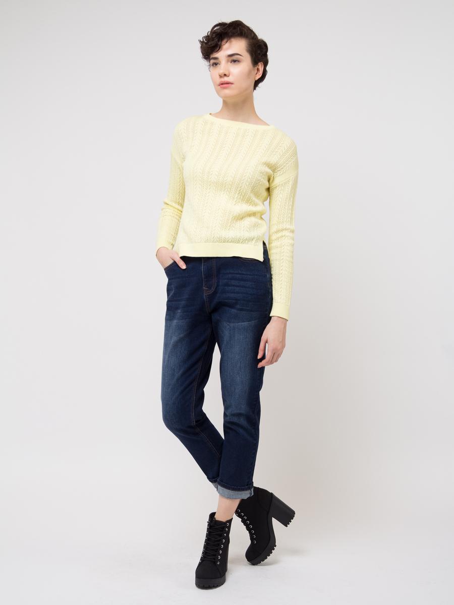 Джемпер женский Sela, цвет: желтый. JR-114/686-8111. Размер XL (50) джемпер женский sela цвет коралловый jr 114 1089 8111 размер xl 50
