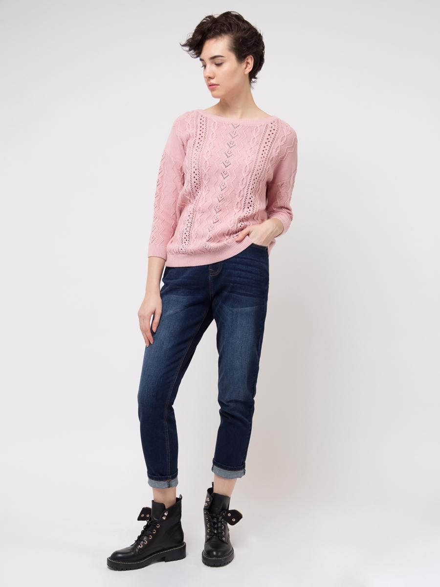 Джемпер женский Sela, цвет: светло-розовый. JR-114/690-8111. Размер S (44)JR-114/690-8111Джемпер женский Sela выполнен из натурального хлопка. Модель с круглым вырезом горловины оформлен оригинальной вязкой.