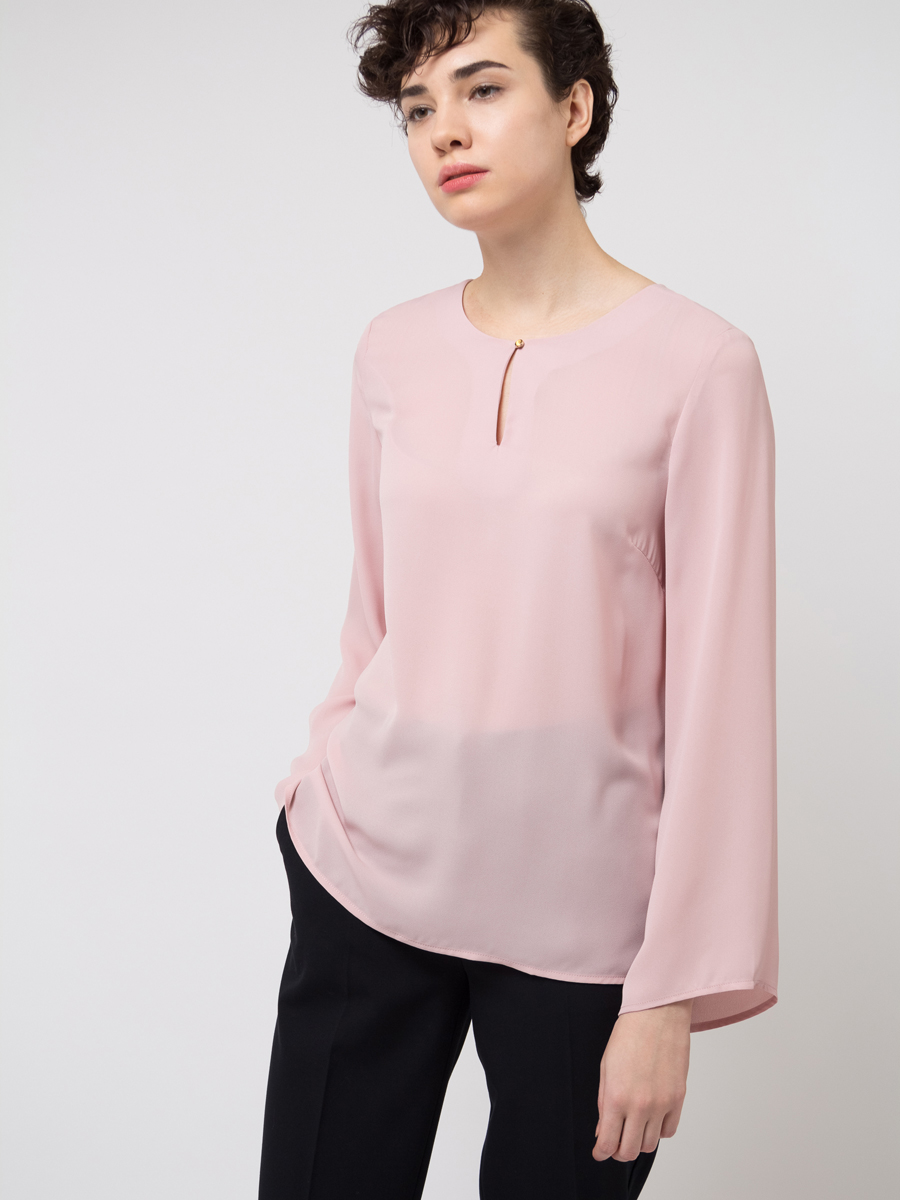 Блузка женская Sela, цвет: светло-розовый. Tw-112/784-8111. Размер 46 блузка женская sela цвет красный twsl 112 805 8111 размер 44