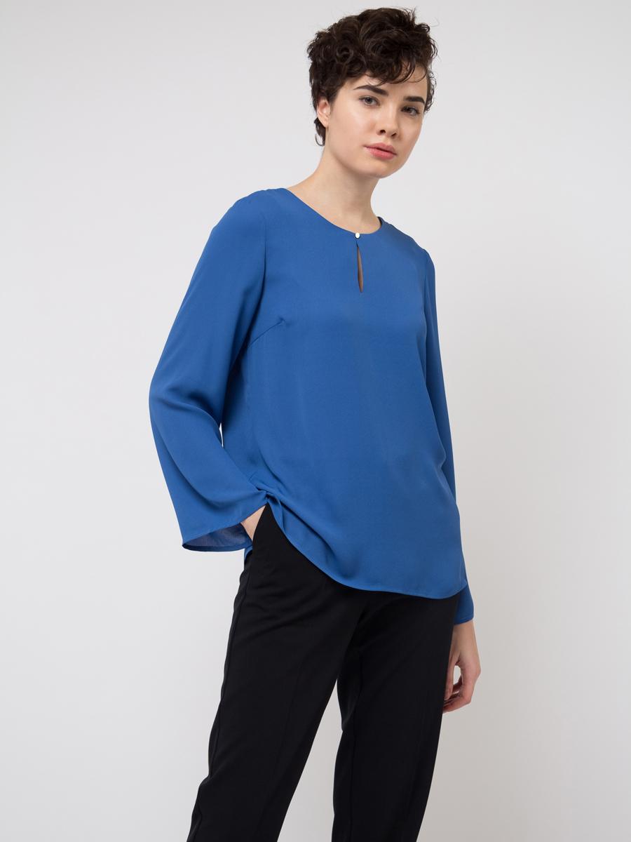 все цены на Блузка женская Sela, цвет: синий. Tw-112/784-8111. Размер 46 онлайн