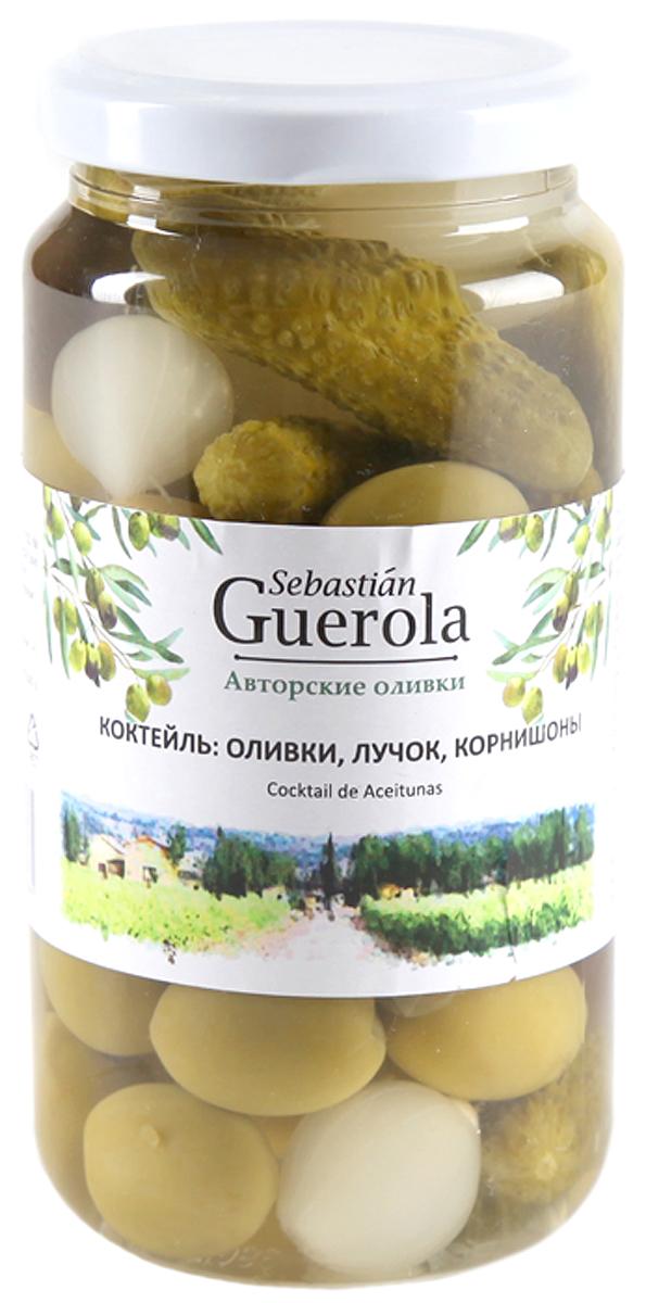 Guerola Коктейль из оливок корнишонов и лука, 370 г guerola оливки сорта арбекина с косточкой 370 г