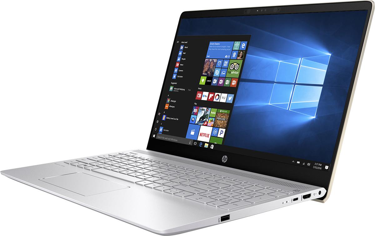 HP Pavilion 15-ck007ur, Silk Gold (2PP70EA)512293Ноутбук HP Pavilion 15-ck007ur сочетает все преимущества настольного ПК в компактном корпусе. Потрясающий звук и четкий Full HD дисплей -это лишь часть тех преимуществ, которые оставляют незабываемые впечатления отиспользования этого компьютера.Используйте по максимуму весь функционал Windows на кристально чистом экране с качеством Full HD, оптимизированном для Windows 10.Четкое изображение, с которым вы не упустите ни одну деталь - даже приплохом освещении. Наслаждайтесь живым общением благодаря веб-камере HP Wide Vision Full HD.С помощью производительного процессора от Intel можно выполнять любые задачи. Создавайте великолепные визуальные материалы, незамедляя работу ноутбука, благодаря дискретной графической карте GeForce MX150. Благодаря модулю беспроводной связи с сертификацией Wi-Fi общаться с коллегами по Интернету и электронной почте можно не только в офисе,но и в любом другом месте с точкой доступа.Встроенные динамики обеспечивают превосходное качество звучания. С помощью разъема HDMI можно подключить ноутбук к большому HD- монитору, что особенно удобно для показа презентаций.Используйте 25 Гбайт Dropbox для хранения и синхронизации файлов. Храните фотографии, музыку и другие файлы и делитесь ими в любомместе, где есть доступ в Интернет, в течение года.Точные характеристики зависят от модификации.Ноутбук сертифицирован EAC и имеет русифицированную клавиатуру и Руководство пользователя