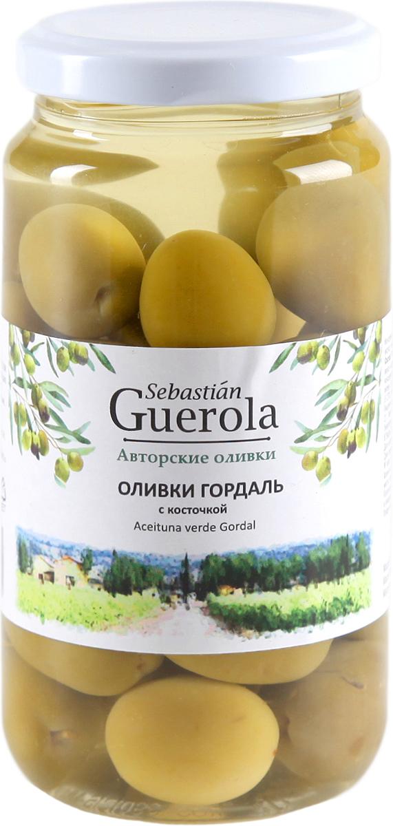 Guerola Оливки зеленые Гордаль с косточкой, 370 г оливки чёрные delphi с косточкой в рассоле размер оливок 91 100 4 25 кг