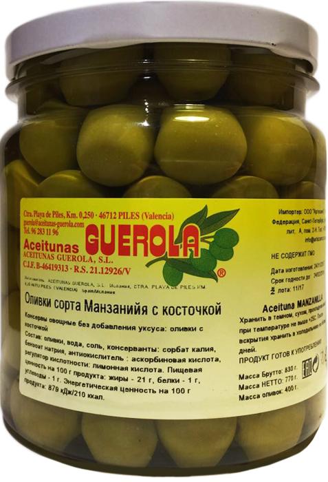Guerola Оливки зеленые сорта Манзанийя с косточкой, 770 г guerola оливки изумрудные кампо реаль с косточкой 770 г
