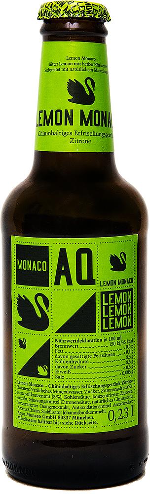 Lemon Monaco Хинил и лимон Лимонад на основе природной минеральной воды, 230 мл4260322150074Lemon Monaco - это наш Bitter Lemon. Классический лимонад с идеальным сочетанием сладкого, кислого и горького вкусов. Сильный и яркий аромат лимона в сочетании с горьким привкусом хинина создают чрезвычайно интенсивную вкусовую композицию. Lemon Monaco прекрасно подходит для приготовления коктейлей и лонгдринков. Отдельно употреблять Lemon Monaco рекомендуется с большим количеством льда.Предлагаем Вам рецепты восхитительных алкогольных коктейлей на основе Lemon Monaco, которые любой желающий может приготовить в домашних условиях:Vodka Lemon:- 40 мл Водки- 1 бутылка Lemon Monaco- ЛаймLemon Sprizz:- 40 мл Кампари- 1 бутылка Lemon Monaco- Апельсин