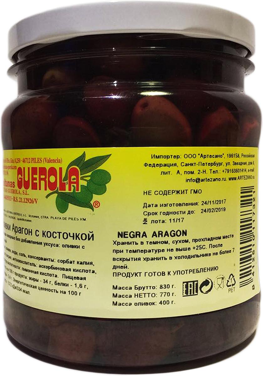 Guerola Оливки черные сорта Арагон с косточкой, 770 г guerola оливки изумрудные кампо реаль с косточкой 770 г