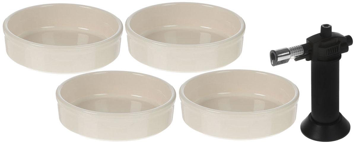Набор столовой посуды Emile Henry Крем брюле, цвет: кремовый, 5 предметов029711Секрет приготовления вкусного крем-брюле заключается в использовании правильной посуды. Изготовленныеиз HR керамики, формы для крем-брюле Emile Henry равномерно и медленно проводят тепло, что особенно важнопри деликатном приготовлении блюд.В состав набора входит: форма для крем-брюле - 4 шт., газовая горелка.Диаметр рамекинов - 12 см.