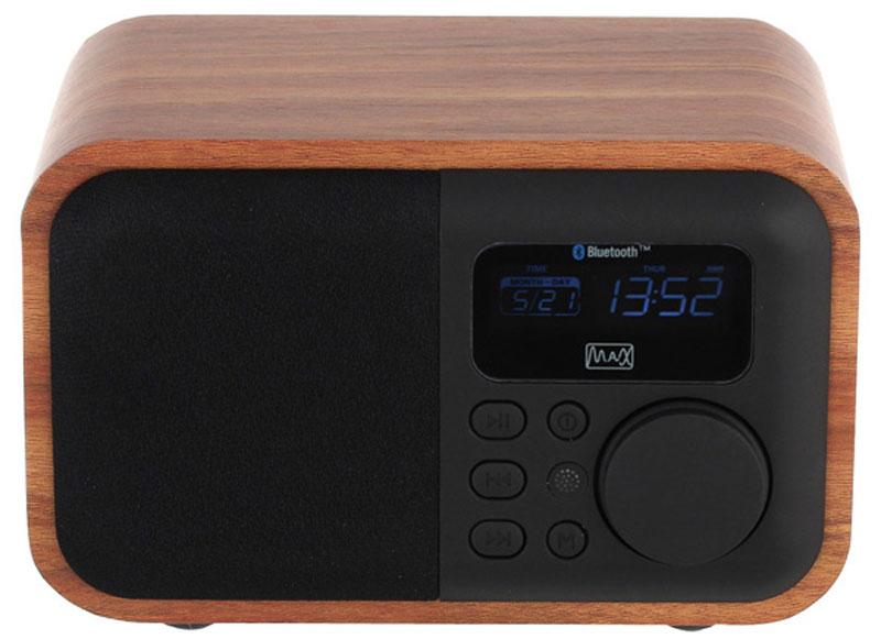 MAX MR-332 портативная акустическая система30036MAX MR-332 - это портативная акустическая система c поддержкой технологии Bluetooth. Колонка работает с большинством смартфонов, планшетов и других совместимых портативных электронных устройств.Также в данной модели имеется поддержка FM-радио, встроенный МР3-плеер, функция Часы, функция Будильник, светодиодная подсветка ЖК-дисплея, таймер отключения, функция Календарь, а также возможность воспроизведения с внешнего аудиоустройства через AUX 3.5 мм, разъем USB и вход для карты памяти microSD.Особенности:Bluetooth Воиспроизведение форматов MP3/WMA с USB/microSDВстроенный Hi-Fi усилитель(5W) Эффективная мощность 5 Вт Время воспроизведения: более 8 часовВстроенный Li-ion аккумулятор 1800 мА/ч