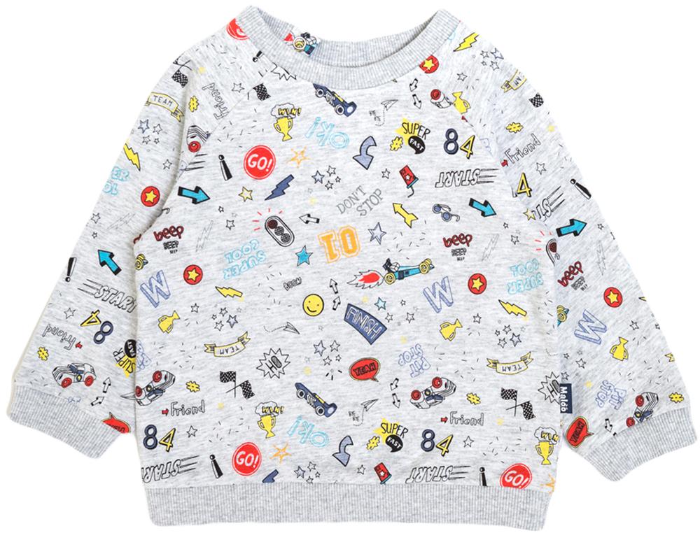 Свитшот для мальчика Maloo by Acoola Waco, цвет: светло-серый. 22150100023_1800. Размер 80 футболка для мальчика acoola remark цвет светло бежевый 20110110105 300 размер 170