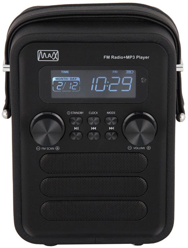 MAX MR-340, Black портативный радиоприемник30059MAX MR-340 оснащен функцией полного дистанционного управления, что способствует максимальному комфорту во время его работы. Радиоприемник также имеет функции будильника, календаря, часов, sleep-таймера и возможность воспроизводить файлы с цифровых носителей. Стильный и современный радиоприемник MAX MR-340 станет незаменимым товарищем для любителей качественного звука и комфорта. Древесный корпус покрытый экокожей. Компактная акустическая система выполненная в стиле Ретро и Пост-Модерн.ЖК цифровой дисплей с подсветкой.FM радио (87,5-108 МГц).Воиспроизведение форматов MP3/WMA с USB/microSD.Встроенный Li-ion аккумулятор 1800 мА/ч.
