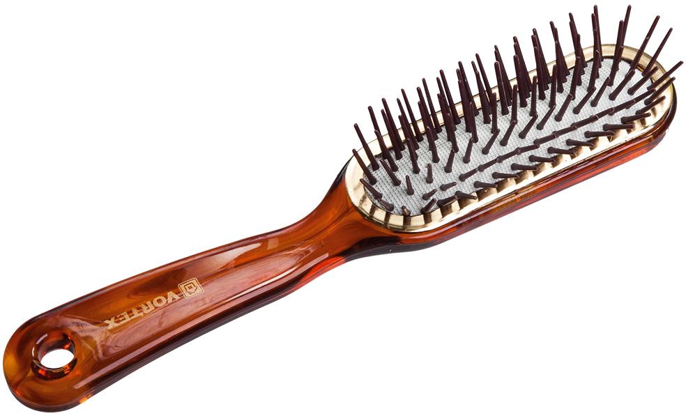 Vortex Расческа массажная Прямоугольник, пластиковая, с пластиковыми зубчиками, 21,7 см51054Гладкая поверхность расчески не повреждает волосы при расчесывании. Удобная ручка не выскальзывает из рук. Благодаря оригинальному дизайну расческу можно использовать как для расчесывания, так и для укладки. Подходит для всех типов волос вне зависимости от длины.Срок годности: не ограничен. Материал: пластик, резина.