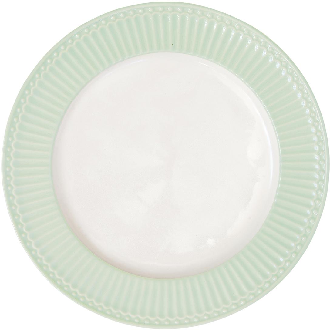 Тарелка Alice, цвет: зеленый, диаметр 27 смSTWdinali3906Блюдо Alice pale green, выполненное из высококачественного фарфора, может исполнять роль сервировочной тарелки, а также использоваться самостоятельно – как блюдо для овощей, фруктов, различных нарезок.