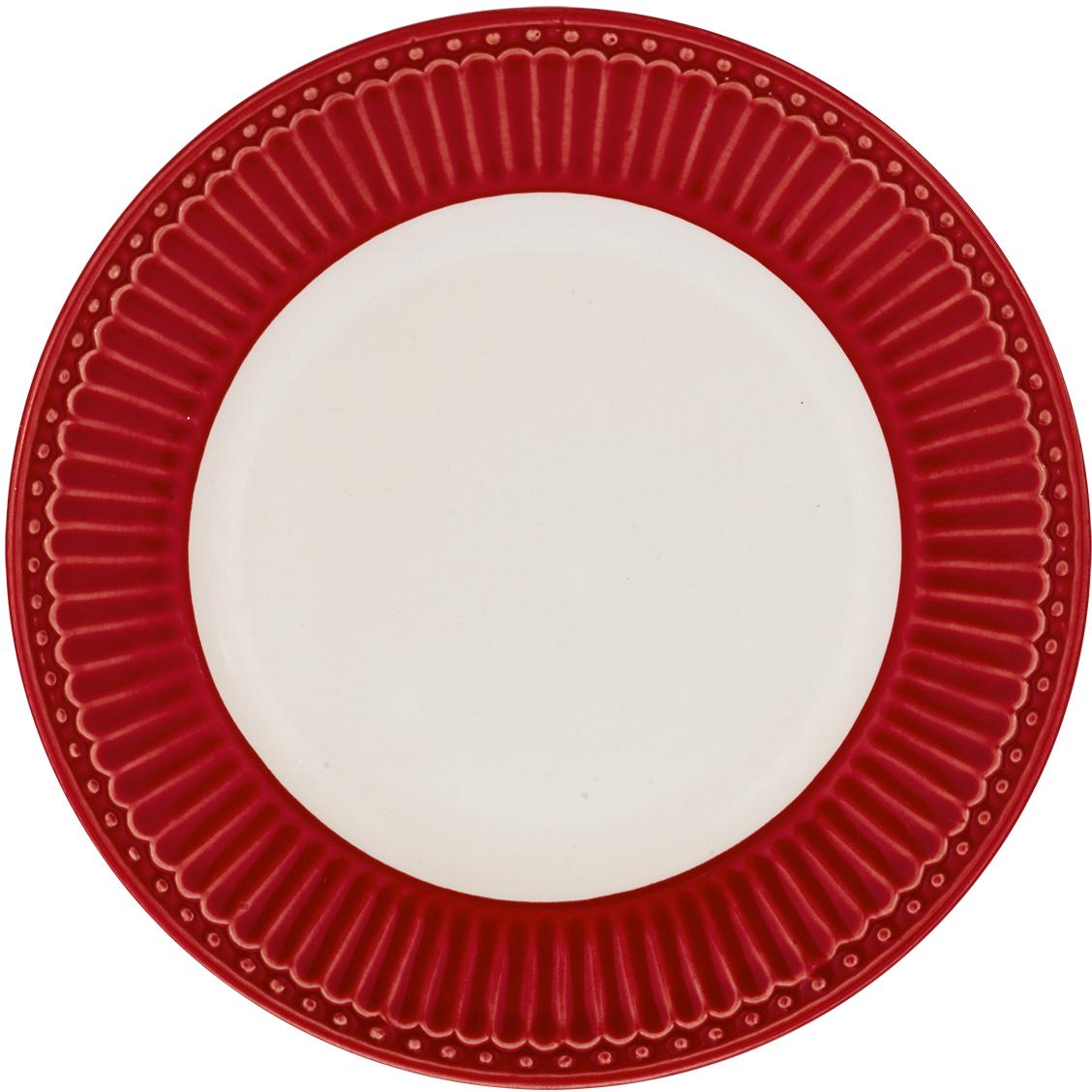 Десертная тарелка датского производства Alice red, выполненная из высококачественного фарфора, несомненно, станет украшением как праздничного стола, так и повседневной сервировки.  Базовая коллекция Alice создана для идеального сочетания посуды ранних и будущих коллекций Greengate. Впервые появилась в каталогах в 2016 году и с тех пор завоевала миллионы сердец своей универсальностью, зефирной нежностью и разнообразием посудной линейки. Коллекция Alice в пастельных тонах (pink, blue, green) превосходно сочетается как между собой, так и с классическими цветочными принтами, разбавляет их и облегчает композицию. Солнечный желтый цвет Alice pale yellow в сервировке вносит свежесть и яркость погожего летнего денька. Выполнена из высококачественного фарфора, устойчивого к сколам, допускается использование в посудомоечной машине и микроволновой печи. Коллекция Alice – это беспроигрышный вариант как для знакомства с коллекционной посудой Greengate, так и для принципа «mix and match» (смешивай и сочетай).