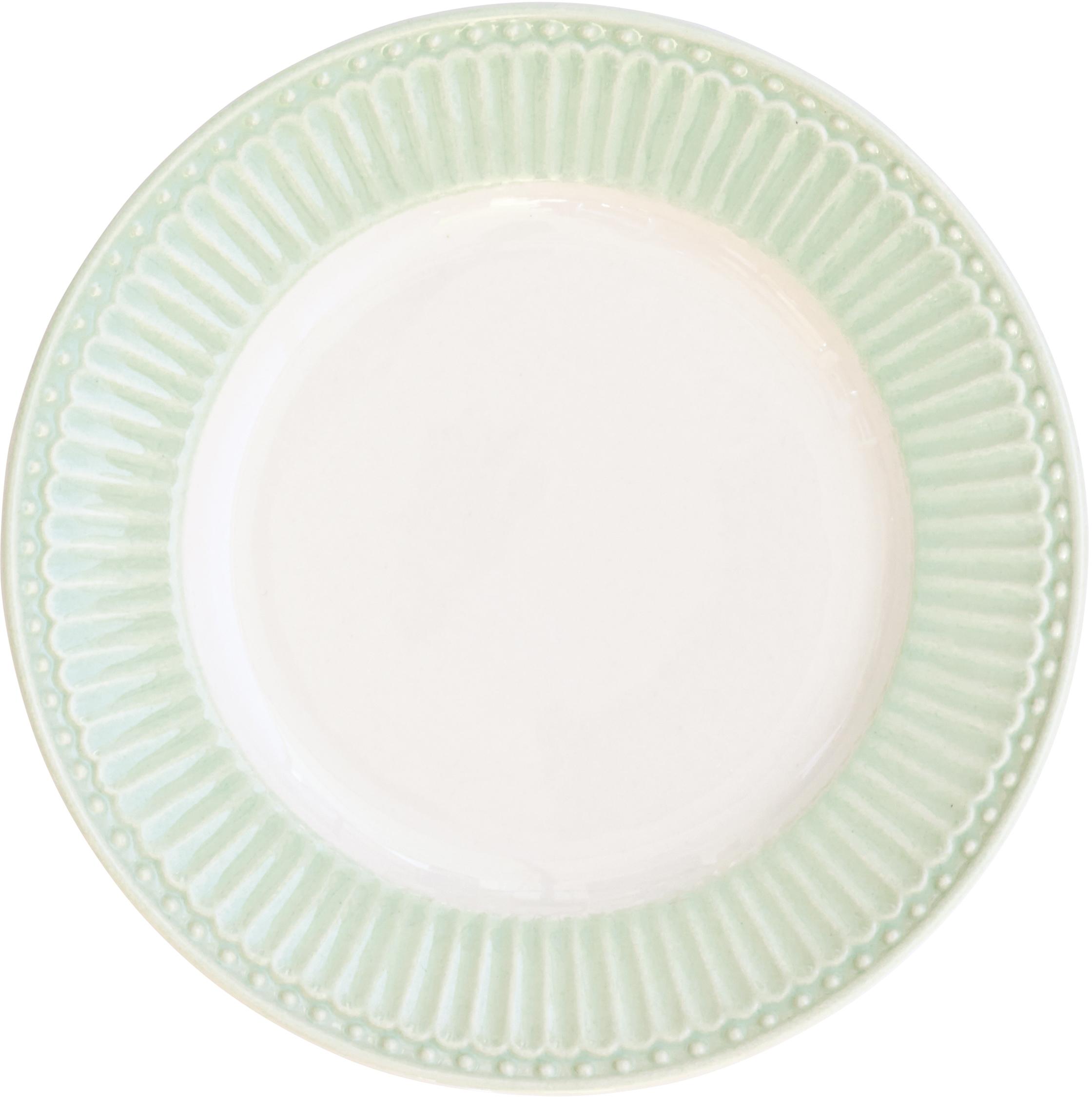 Тарелка десертная Alice, цвет: зеленый, диаметр 17,5 смSTWPLASAALI3906Десертная тарелка датского производства Alice pale green, выполненная из высококачественного фарфора, несомненно, станет украшением как праздничного стола, так и повседневной сервировки. Базовая коллекция Alice создана для идеального сочетания посуды ранних и будущих коллекций Greengate. Впервые появилась в каталогах в 2016 году и с тех пор завоевала миллионы сердец своей универсальностью, зефирной нежностью и разнообразием посудной линейки. Коллекция Alice в пастельных тонах (pink, blue, green) превосходно сочетается как между собой, так и с классическими цветочными принтами, разбавляет их и облегчает композицию. Солнечный желтый цвет Alice pale yellow в сервировке вносит свежесть и яркость погожего летнего денька. Выполнена из высококачественного фарфора, устойчивого к сколам, допускается использование в посудомоечной машине и микроволновой печи. Коллекция Alice – это беспроигрышный вариант как для знакомства с коллекционной посудой Greengate, так и для принципа «mix and match» (смешивай и сочетай).