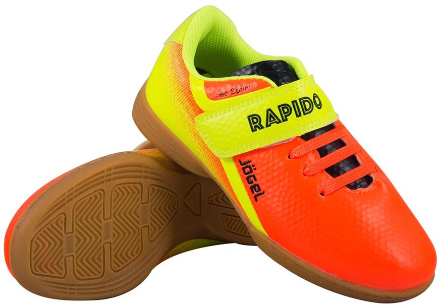 Бутсы для футзала детские Jogel Rapido, цвет: оранжевый. JSH4001-K. Размер 33УТ-00010555Зальные бутсы Jogel Rapido Kids из линейки neo.Sprint предназначены для игры в зале и других ровных поверхностях, а также подходят для повседневной носки. Данная модель выполнена в минималистичном дизайне с использованием ярких цветовых решений.Анатомически правильная колодка обеспечивает удобное положение стопы. Прошивка в носочной части придает дополнительную надежность конструкции ботинка. Съемная анатомическая стелька изготовлена из вспененного материала ЭВА, который обеспечивает дополнительную амортизация и уменьшает нагрузку на опорно-двигательный аппарат ребенка. В данной модели применена удобная липучка и не требующие завязки резиновые шнурки, которые позволяют быстро и надежно затянуть обувь по ноге и не тратить время на шнуровку. Подошва обуви выполнена по технологии Non-marking, что обеспечивает безупречное сцепление с гладкими полированными поверхностями и не оставляет следов на паркете.В производстве обуви Jogel используются только качественные гипоаллергенные материалы, обувь легко моется и не требует дополнительного ухода.