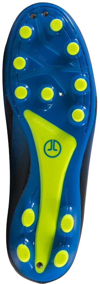 """Футбольные бутсы Jogel """"Rapido"""" из линейки neo.Sprint предназначены для игры на искусственных и натуральных покрытиях. Данная модель выполнена в минималистичном дизайне с использованием ярких цветовых решений.Анатомически правильная колодка обеспечивает удобное положение стопы. Прошивка в носочной части придает дополнительную надежность конструкции ботинка. Съемная анатомическая стелька изготовлена по технологии ExoGrip из нескользящего материала. Стелька произведена из вспененного материала ЭВА, который обеспечивает дополнительную амортизацию и уменьшает нагрузку на опорно-двигательный аппарат. Легкая подошва, учитывающая особенности строения стопы, благодаря технологии Flex+ делает каждое движение игрока быстрым и точным. Конфигурация подошвы из 12-ти шипов обеспечивает комфортное сцепление с поверхностью и позволяет развивать максимальную взрывную скорость.В производстве обуви Jogel используются только качественные материалы, обувь легко моется и не требует дополнительного ухода."""
